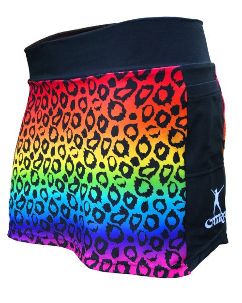 Fancy Running - Catra Corbett - Rainbow Leopard Print Running Skort - Front