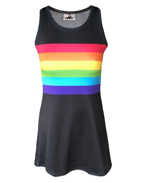 Fancy Running Black Rainbow Womens Running Dress Front